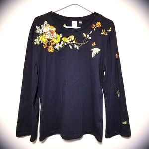 Little Moon Embroidered Floral Bell Sleeves Top